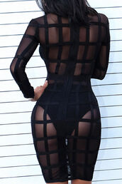 dress,mesh,bandage,bodycon,caged,strappy,grid,sexy dress,see through dress,mesh dress,black dress,black,see through,long sleeves,long sleeve dress,bodycon dress,party dress,sexy party dresses,sexy,party outfits,sexy outfit,summer dress,summer outfits,spring dress,spring outfits,cute dress,girly dress,date outfit,birthday dress,clubwear,club dress,homecoming,homecoming dress,engagement party dress