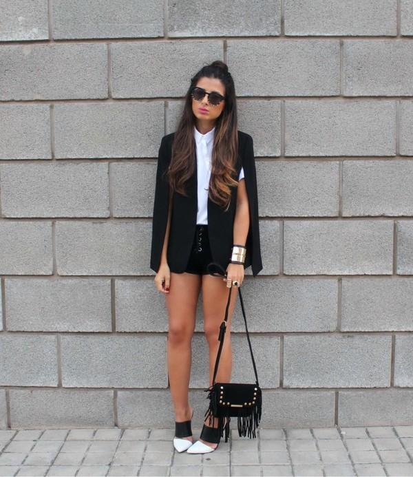 style by nelli blogger jewels jacket shorts bag suede shorts black shorts black blazer blazer shirt white shirt sunglasses mules black bag fringed bag