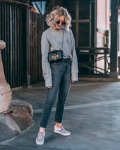 sweater,sweatwear,jeans,grey jeans,shoes,oversized sweater,crossbody bag,mini bag,round sunglasses