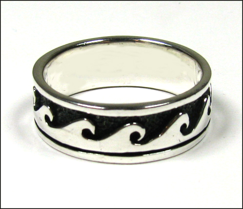Men's Ocean Wave Silver Band Ring Plus Size - TheSilverNet.com