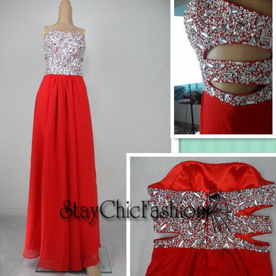 Sexy red strapless rhinestone beaded top cutout waist dress