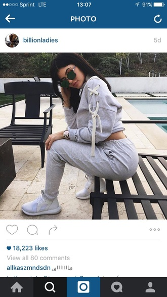 shoes sneakers sweatpants sweater grey sweater winter sweater fall sweater cropped sweater watch sunglasses accessories outfit outfit idea winter outfits cute outfits spring outfits