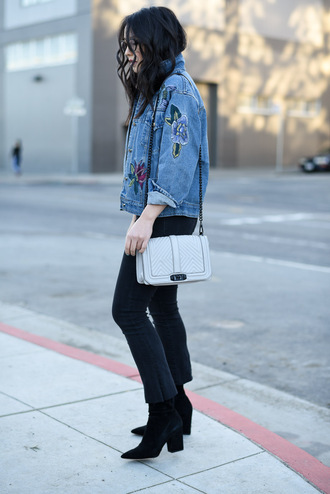 the fancy pants report blogger shoulder bag denim jacket ankle boots embellished denim outfit idea jacket tumblr blue jacket embroidered embroidered jacket jeans black jeans boots black boots bag white bag high heels boots pointed boots fall outfits