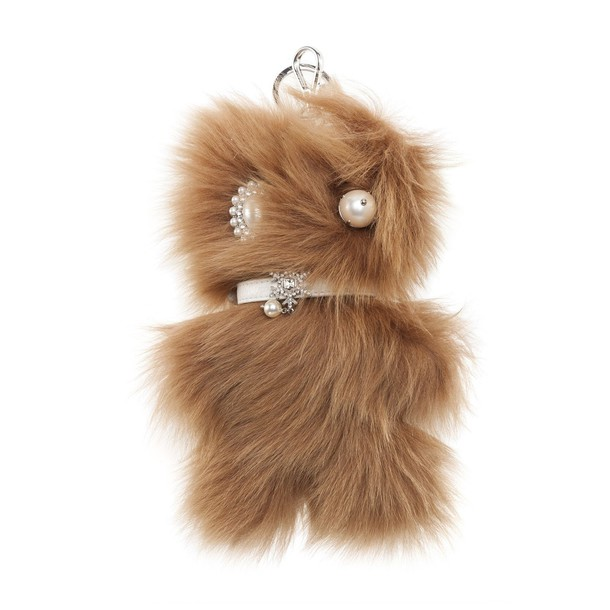 bag charm fur faux fur bag beige