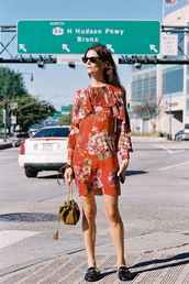 vanessa jackman,blogger,dress,bag,gucci princetown,gucci,gucci shoes,floral dress,red dress,mini dress,long sleeves,long sleeve dress,ruffle,ruffle dress,sunglasses,black sunglasses,brown bag,spring outfits
