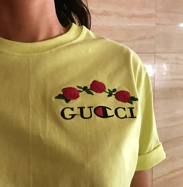 t shirt gucci yellow shirt top casual roses champion