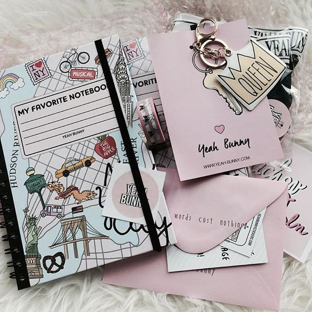 home accessory yeah bunny notebook new york city back to school office outfits handlettering accessories