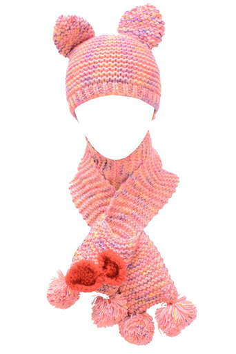 Ladies Judith Woollen Hat with Scarf and Mitten's attached In Pink | Pop Couture