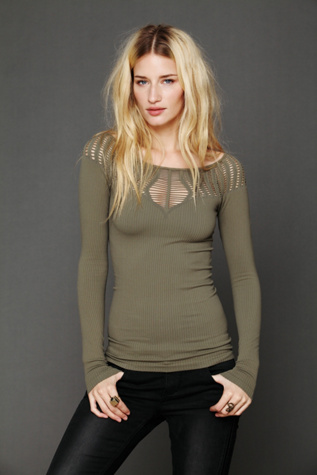 intimately womens cut out neck long sleeve top