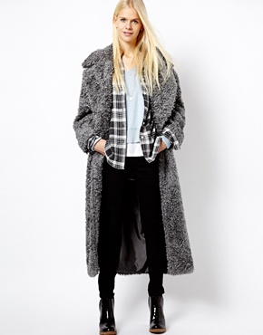 River Island | River Island Gray Maxi Fur Coat at ASOS