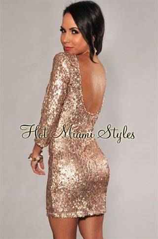 Bronze All-Over Sequined Low Back 3/4 Sleeves Dress