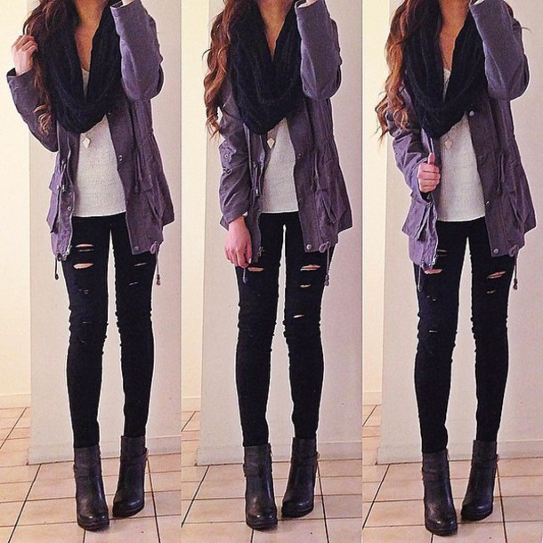 jeans, black, ripped, scarf, jewels, jacket, shoes, t ...