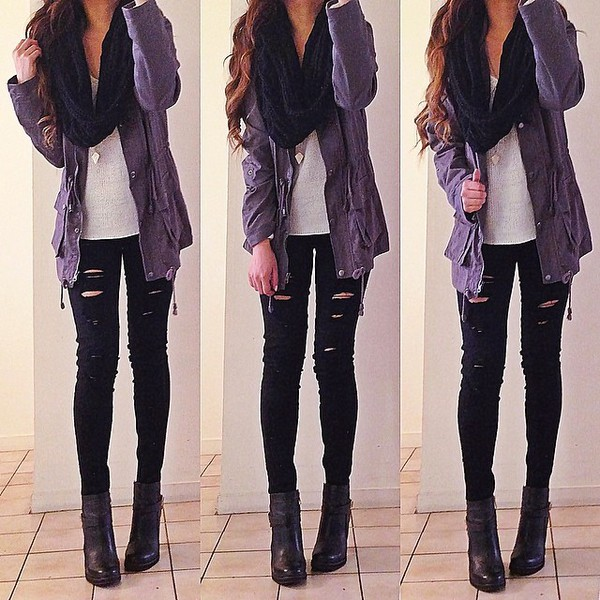 jeans black ripped scarf jewels jacket shoes t-shirt beautymanifesto coat pants girly autumn/winter warm parka cute outfits fall outfits style noir troue
