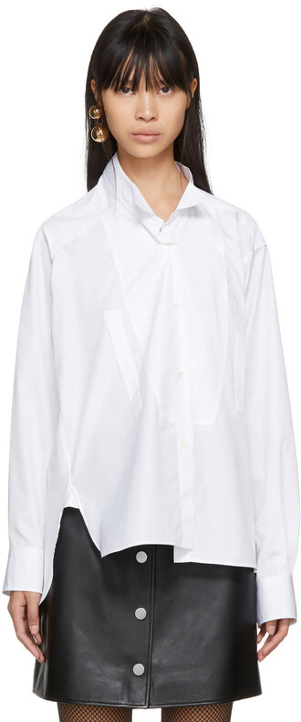 shirt asymmetric shirt short white top