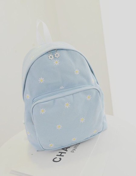 bag baby blue backpack floral floral
