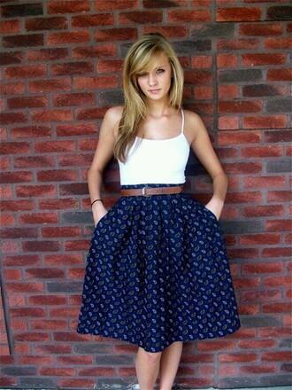 skirt navy white polka dot
