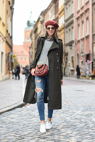 thank fifi blogger coat top jeans shoes scarf bag jewels crossbody bag beret ripped jeans sneakers striped top military style green coat green long coat