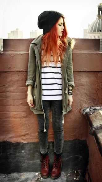 jacket army green red boot grunge shoes shirt jeans
