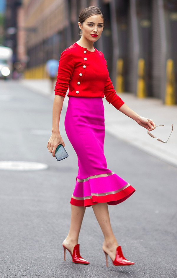 sweater red pink mules olivia culpo midi skirt shoes spring outfits