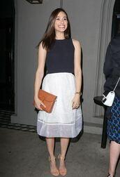 skirt,emmy rossum,top,sandals,shoes