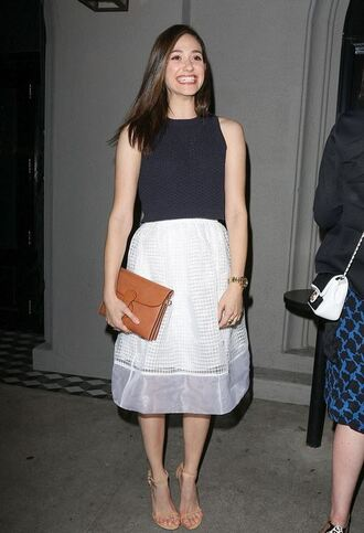skirt emmy rossum top sandals shoes