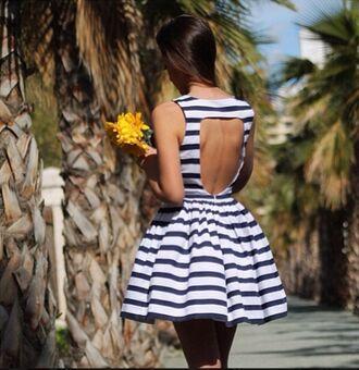 dress navy blue white stripes striped dress open back short dress fashion pretty dress open back dresses open back dress