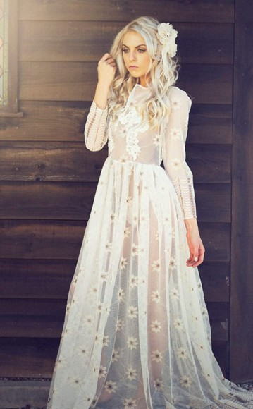 dress maxi dress see through daisys