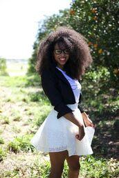 skirt,black sweater,black jacket,cropped jacket,eyelet skirt,circle skirt,white skirt,lace skirt,flare skirt,jacket