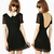 Occidental Halter Round Neck Short Sleeve Black Chiffon Dress - $24.99