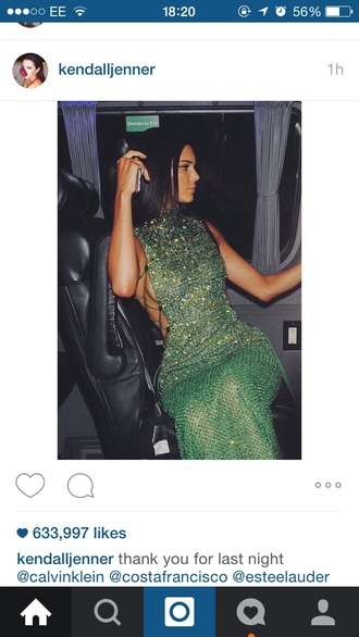 dress kendall jenner green dress sparkly dress cut-out dress long dress