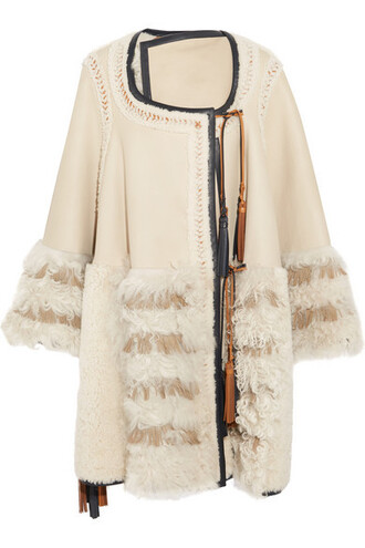 cape oversized patchwork leather cream top