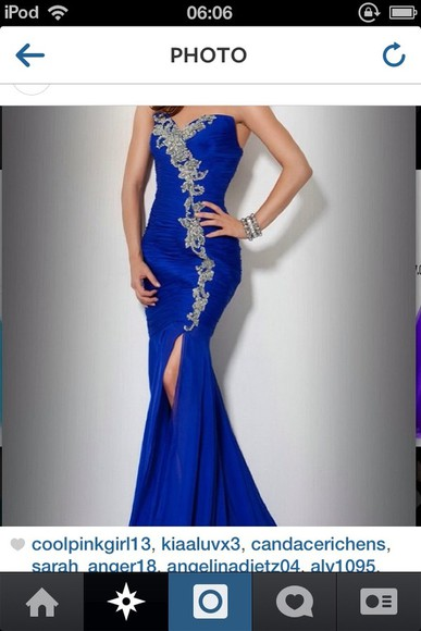 dress slit prom pretty blue gold long fitted strapless design mermaid