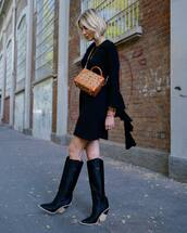 bag,leather bag,crossbody bag,boots,black boots,leather boots,mini dress,long sleeve dress