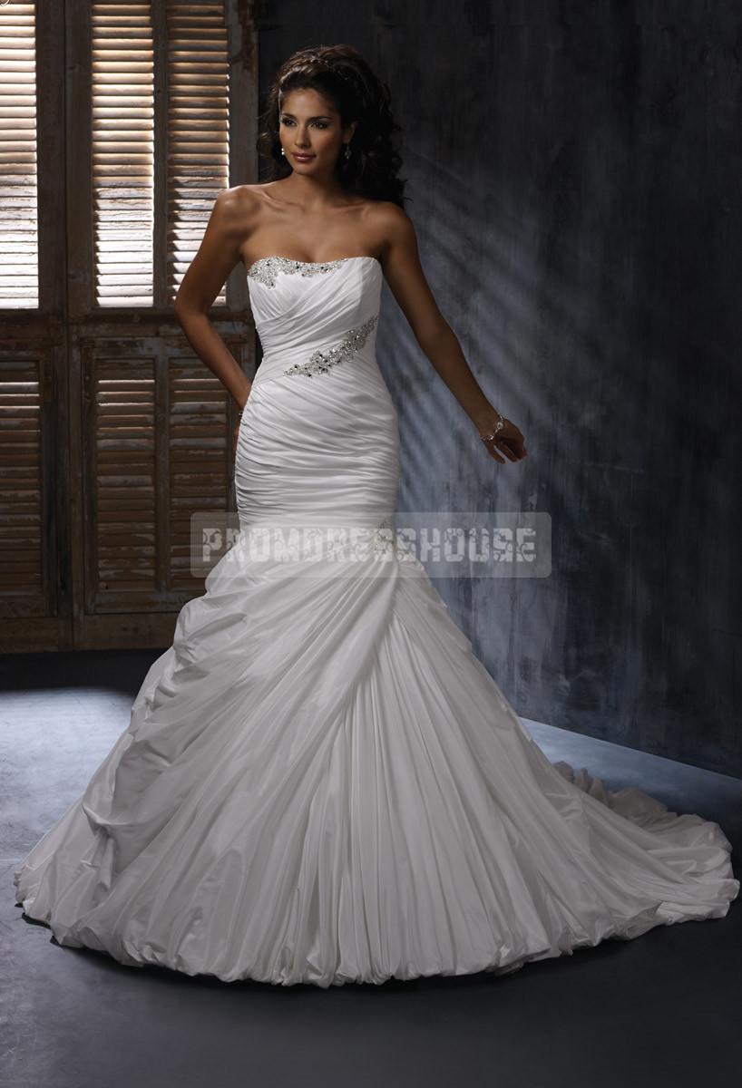 Ruching mermaid taffeta court train crystal wedding dress