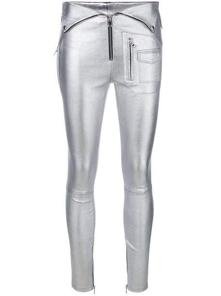 women grey metallic pants