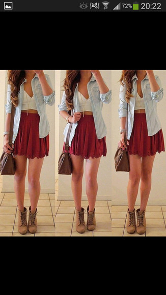 shirt red skirt white crop top denim shirt