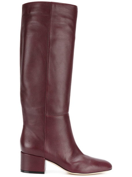 high women classic knee high knee high boots leather purple pink shoes