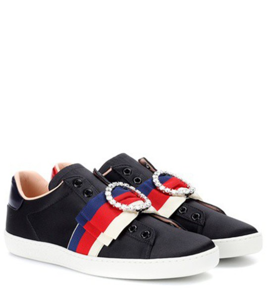 gucci embellished sneakers satin black shoes