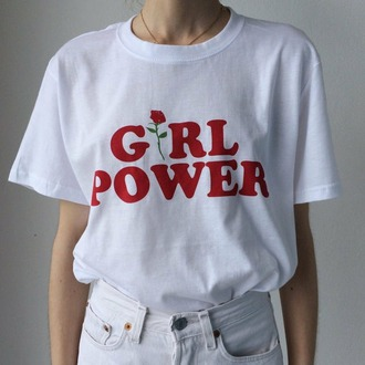 t-shirt white t-shirt graphic tee feminist feminist tshirt shirt girl power red white roses text tee quote on it white shirt tumblr shirt shirts with sayings feminism shirt girl girly girl shirts red textured flowers rose casual top graphic tank top graphic top white top kfashion tumblr aesthetic embroidered girl power tshirt