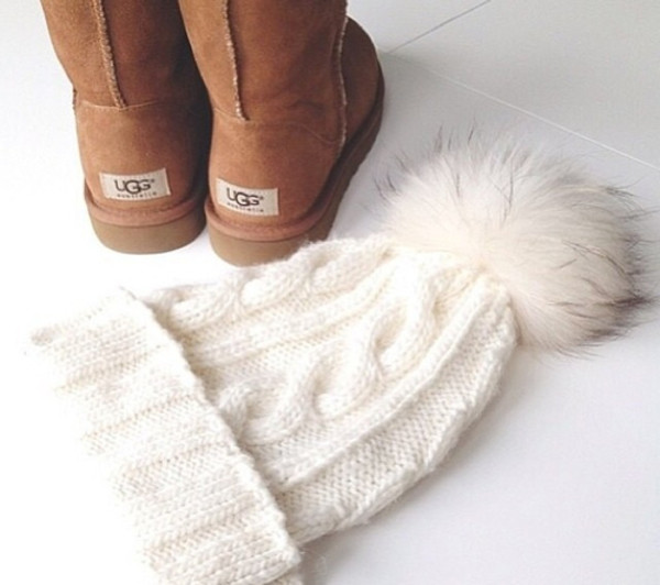 hat white winter hat ugg boots shoes pom pom beanie