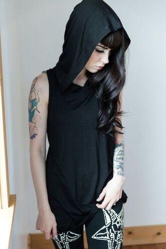 shirt hood grunge top black shirt with a hood hoodie hooded black black tank top knock offs platforms black sparrow