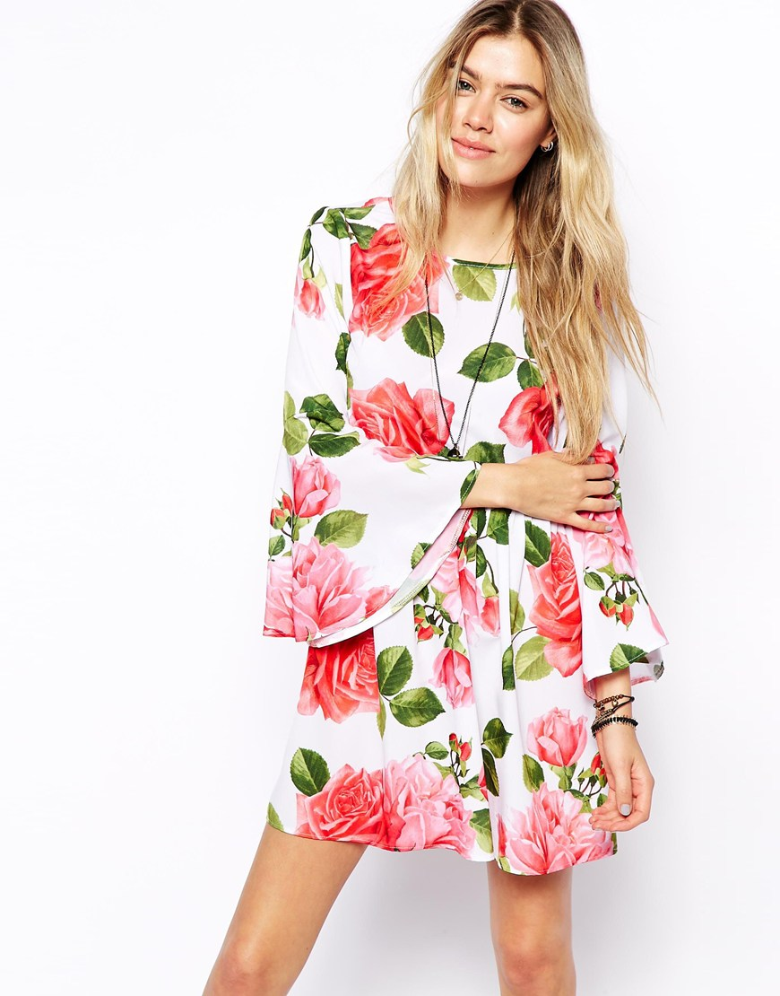 ASOS Reclaimed Vintage Dress With Flute Sleeve In Rose Print at asos.com