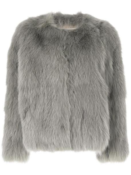 Sprung Frères jacket fur fox women silk grey