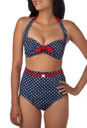 swimwear,high waisted bikini,polka dot bikini