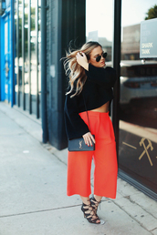 pants,tumblr,cropped pants,red pants,sandals,sandal heels,high heel sandals,black sandals,bag,black bag,top,black top,black crop top,crop tops,sunglasses,jewels
