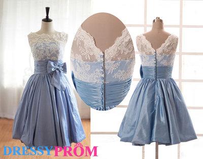 Affordable Blue Lace Bridesmaid Dresses-Modest Cheap Princess Appliques Scoop Short Lace Bridesmaid Dresses/Homecoming Dresses 8100 · DressyProm · Online Store Powered by Storenvy