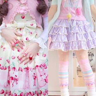 skirt kawaii lolita cute japanese colorful pastel bunny bunnies heart candy strawberry dress shoes