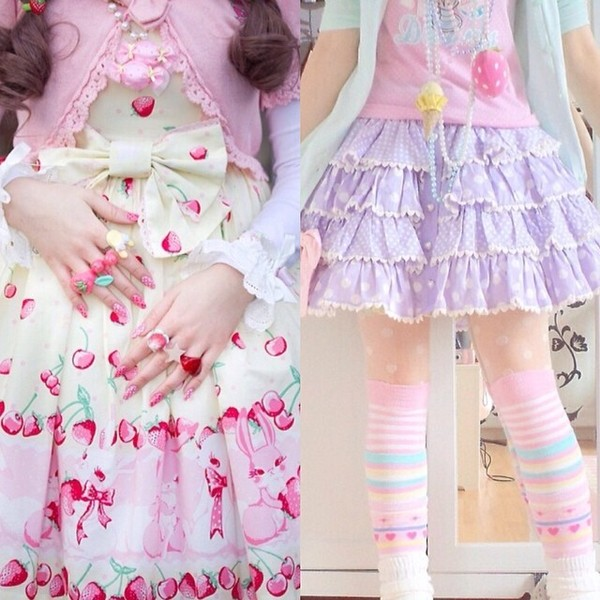 skirt kawaii lolita lolita cute japanese colorful pastel bunny bunnies heart candy strawberry strawberry dress shoes