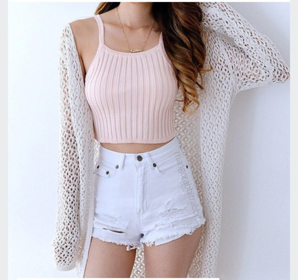 Tank Top Outfit Crop Tops Shorts Sweater Tumblr - Wheretoget
