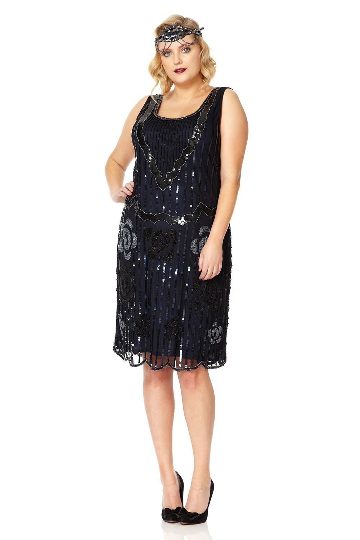 Audrey 1920s Great Gatsby inspired Navy Blue Flapper dress